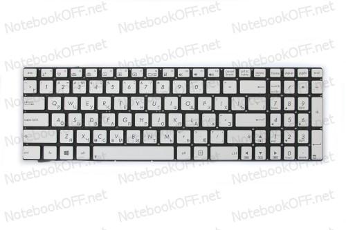 Клавиатура для ноутбука Asus G550, N550, N750 (без фрейма, подсветка, silver) фото №1