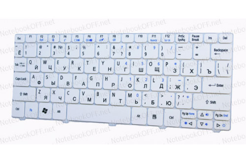 Клавиатура для ноутбука Acer Aspire One 532, D270, Happy, eMachines 350, 355. Белая фото №1